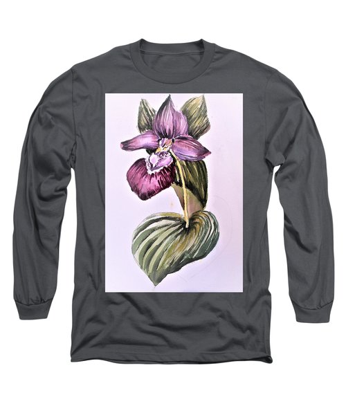 Long Sleeve T-Shirt featuring the painting Slipper Foot Orchid by Mindy Newman