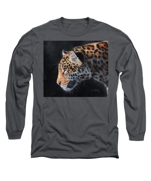 Long Sleeve T-Shirt featuring the painting South American Jaguar by David Stribbling