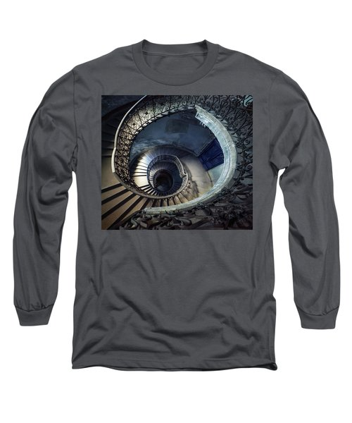 Long Sleeve T-Shirt featuring the photograph Spiral Staircase With Ornamented Handrail by Jaroslaw Blaminsky