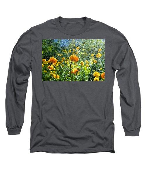 Spring Flowers In The Rain Long Sleeve T-Shirt by Tamara Sushko