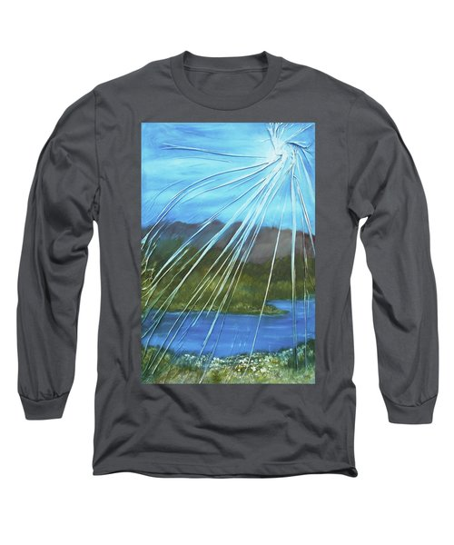 Long Sleeve T-Shirt featuring the mixed media Sunshine Over Boise by Angela Stout