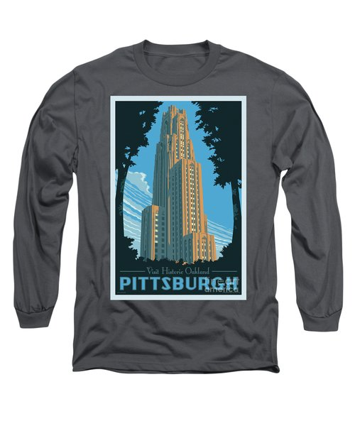 Vintage Style Pittsburgh Travel Poster Long Sleeve T-Shirt