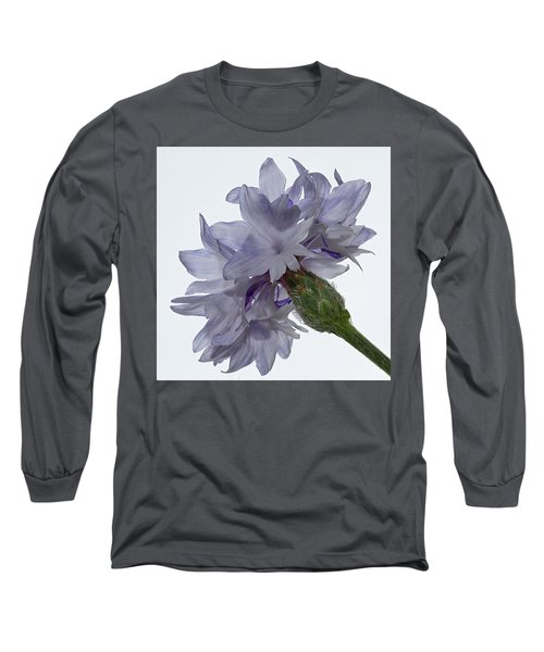 White With Blue Cornflower Long Sleeve T-Shirt