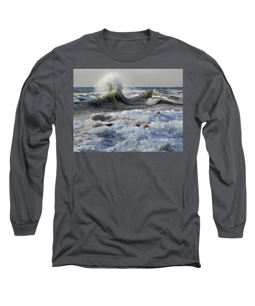 Winter Waves At Whitefish Dunes Long Sleeve T-Shirt