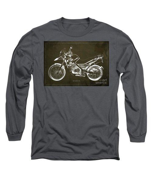2010 Bmw G650gs Vintage Blueprint Brown Background Long Sleeve T-Shirt