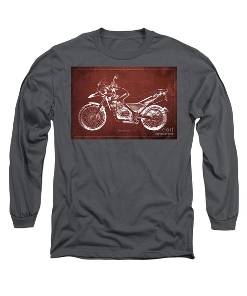 2010 Bmw G650gs Vintage Blueprint Red Background Long Sleeve T-Shirt