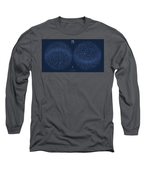 2017 Pi Day Star Chart Azimuthal Projection Long Sleeve T-Shirt