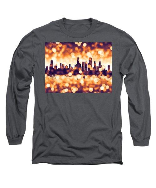 Chicago Illinois Skyline Long Sleeve T-Shirt by Michael Tompsett
