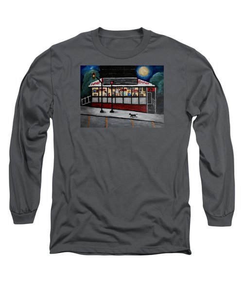 24 Hour Diner Long Sleeve T-Shirt by Victoria Lakes