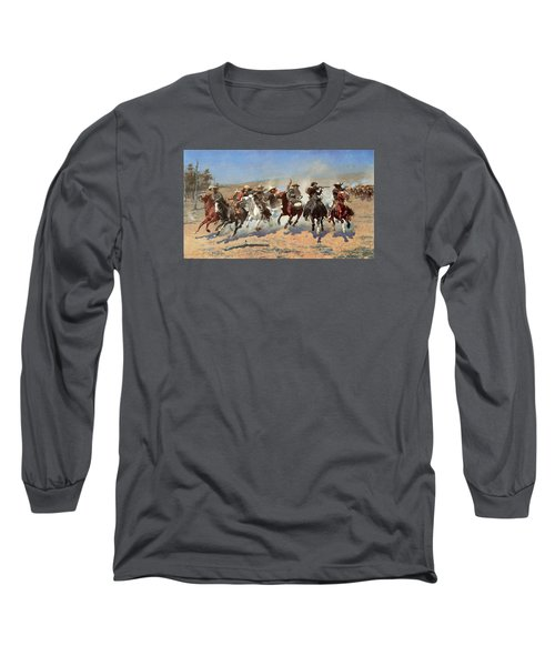 A Dash For The Timber Long Sleeve T-Shirt by Frederic Remington