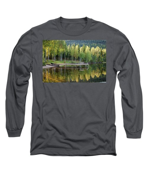 Birches And Reflection Long Sleeve T-Shirt by Aivar Mikko