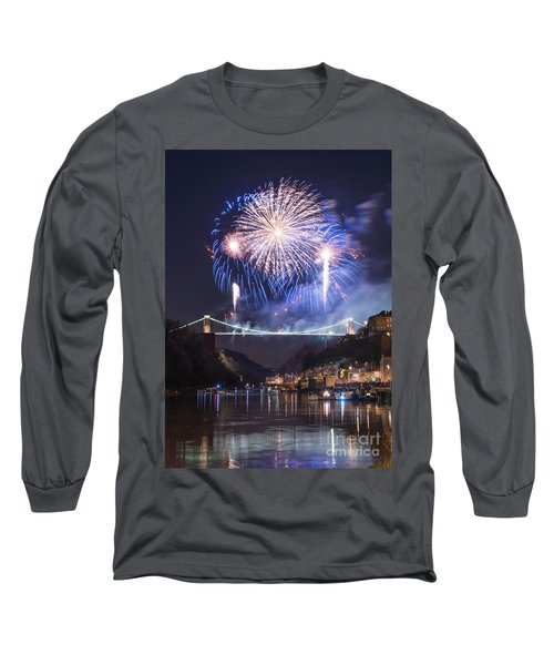 Clifton Suspension Bridge Fireworks Long Sleeve T-Shirt by Colin Rayner