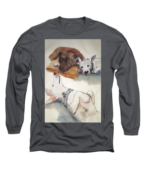 Dogs Dogs  Dogs Album Long Sleeve T-Shirt by Debbi Saccomanno Chan
