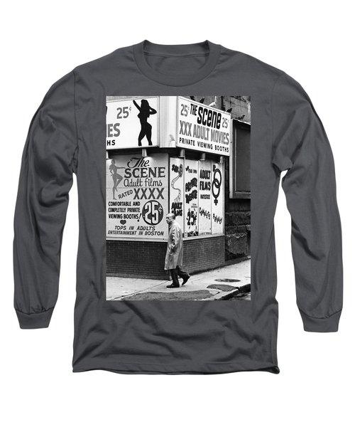 Film Homage Hard Core 1979 Porn Theater The Combat Zone Boston Massachusetts 1977 Long Sleeve T-Shirt
