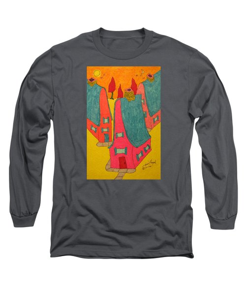 3 Homes With Three Red Trees Long Sleeve T-Shirt