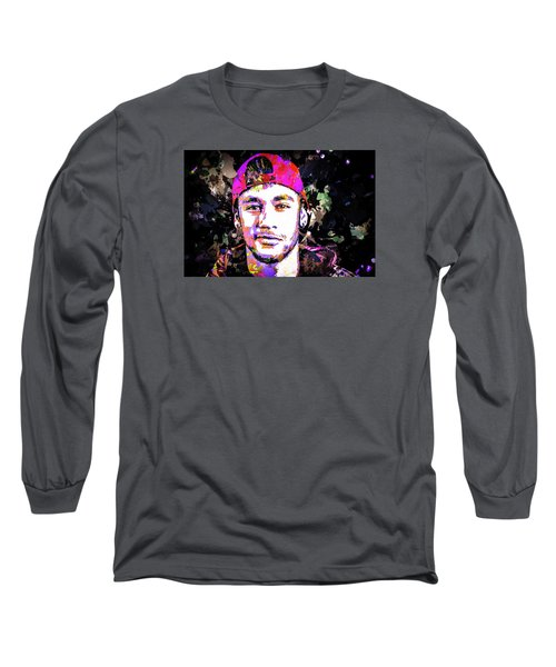 Long Sleeve T-Shirt featuring the mixed media Neymar by Svelby Art