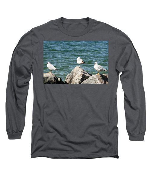 Long Sleeve T-Shirt featuring the photograph 3 Of Them At Sea by Paul SEQUENCE Ferguson             sequence dot net