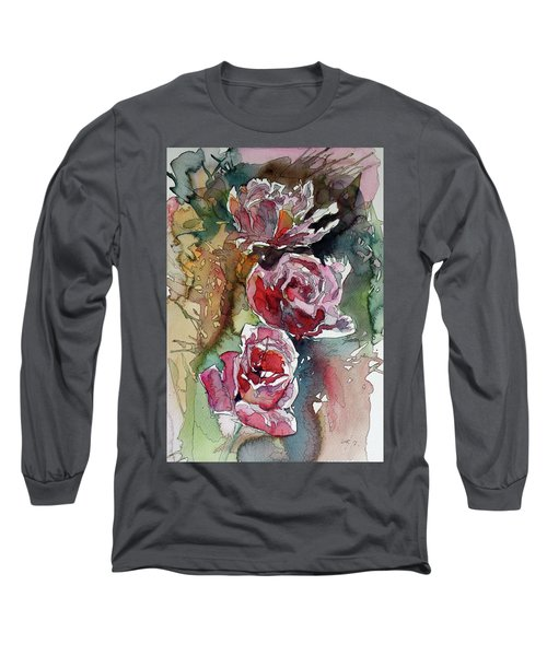 Long Sleeve T-Shirt featuring the painting Roses by Kovacs Anna Brigitta