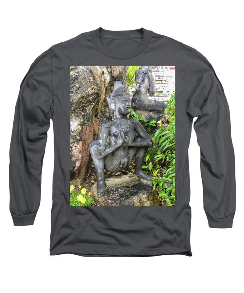 Statue Depicting A Thai Yoga Pose At Wat Pho Temple Long Sleeve T-Shirt