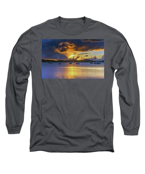 Sunrise Waterscape With Clouds And Boats Long Sleeve T-Shirt