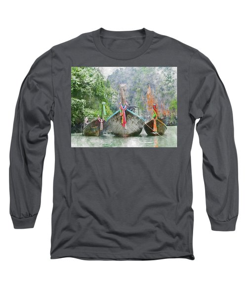 Traditional Long Boat In Thailand Long Sleeve T-Shirt