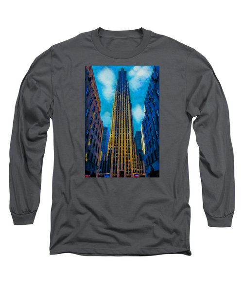 Long Sleeve T-Shirt featuring the painting 30 Rock by Kai Saarto