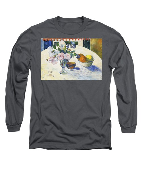 Flowers And A Bowl Of Fruit On A Table,  Long Sleeve T-Shirt