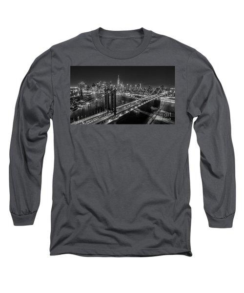 New York City, Manhattan Bridge At Night Long Sleeve T-Shirt by Petr Hejl