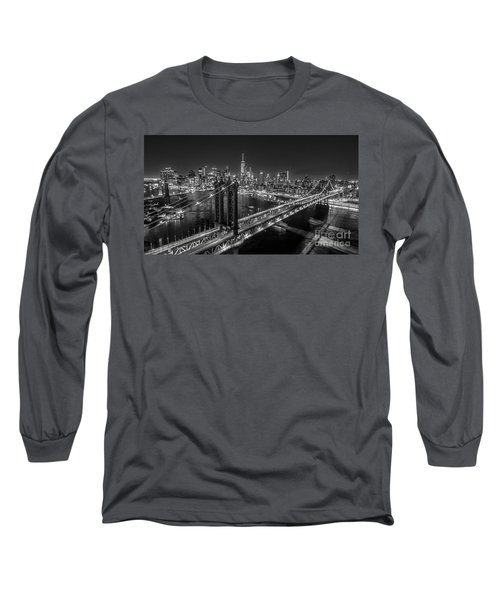 New York City, Manhattan Bridge At Night Long Sleeve T-Shirt