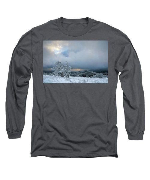 Typical Snowy Landscape In Ore Mountains, Czech Republic. Long Sleeve T-Shirt