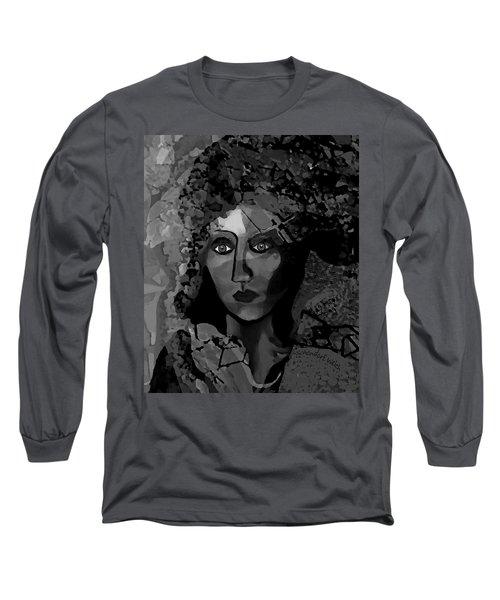 Long Sleeve T-Shirt featuring the digital art 455 - Dark Dreamer by Irmgard Schoendorf Welch