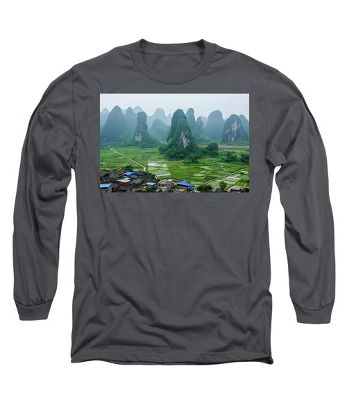 The Beautiful Karst Rural Scenery In Spring Long Sleeve T-Shirt