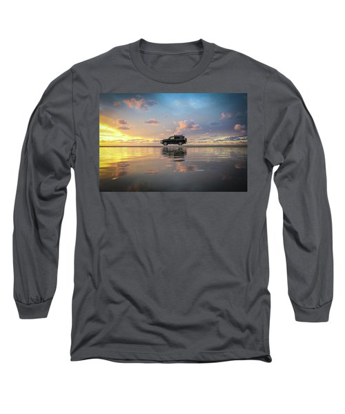 4wd Vehicle And Stunning Sunset Reflections On Beach Long Sleeve T-Shirt