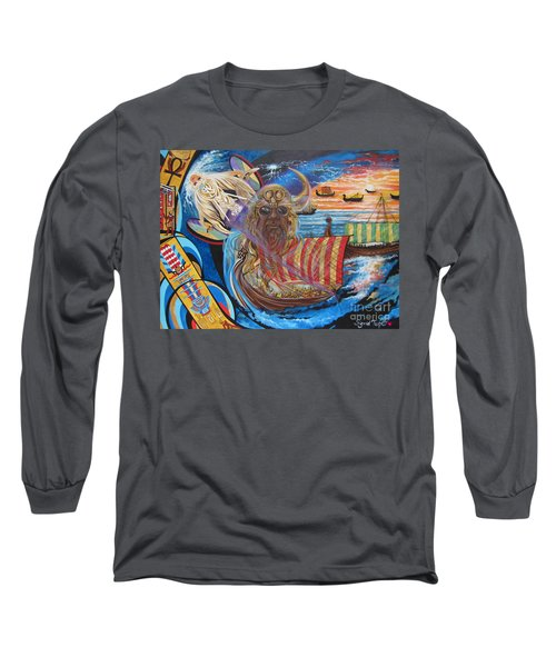Long Sleeve T-Shirt featuring the painting 500 Empires Never Die - Odin by Sigrid Tune