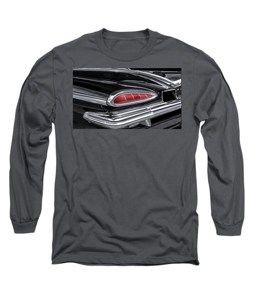 59 Chevy Tail Light Detail Long Sleeve T-Shirt by Gary Warnimont