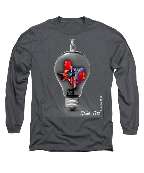 Dallas Texas Map Collection Long Sleeve T-Shirt by Marvin Blaine