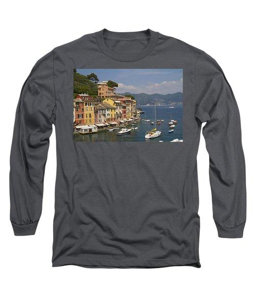 Portofino In The Italian Riviera In Liguria Italy Long Sleeve T-Shirt by David Smith