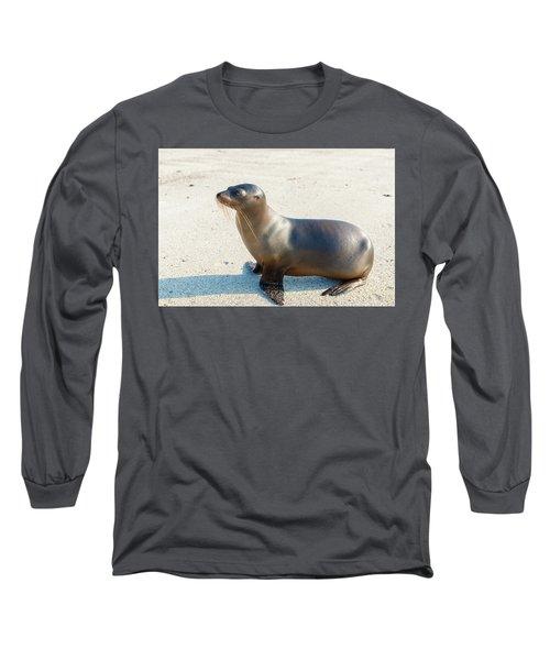 Sea Lion In Galapagos Islands Long Sleeve T-Shirt by Marek Poplawski