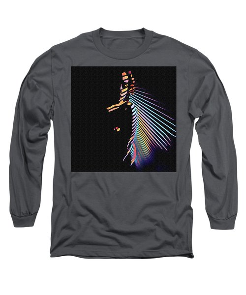 6580s-nlj Woman In Shadows By Window Zebra Striped Rendered In Composition Style Long Sleeve T-Shirt