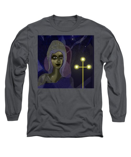 Long Sleeve T-Shirt featuring the digital art 673 - Young Lady With Cross by Irmgard Schoendorf Welch