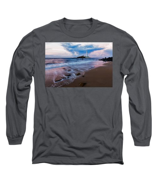 Saint Mary's Lighthouse At Whitley Bay Long Sleeve T-Shirt