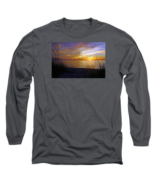 Sunset At Delnor Wiggins Pass State Park In Naples, Fl Long Sleeve T-Shirt