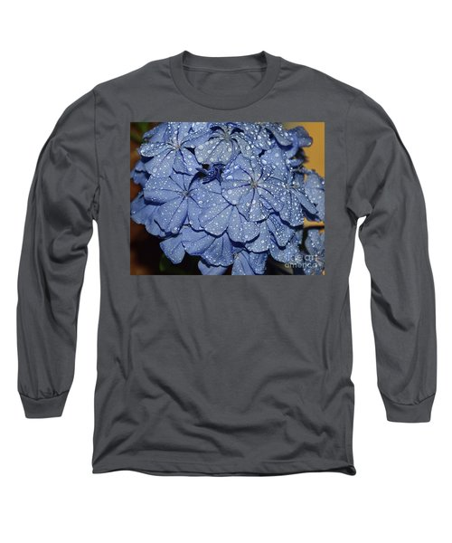 Blue Plumbago Long Sleeve T-Shirt by Elvira Ladocki