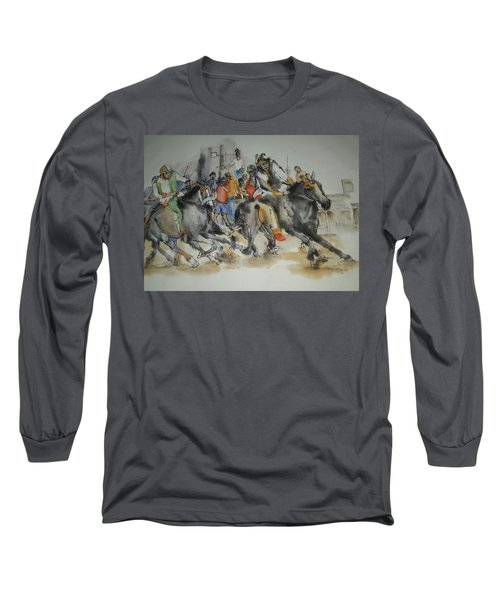 Long Sleeve T-Shirt featuring the painting Siena And Their Palio Album by Debbi Saccomanno Chan