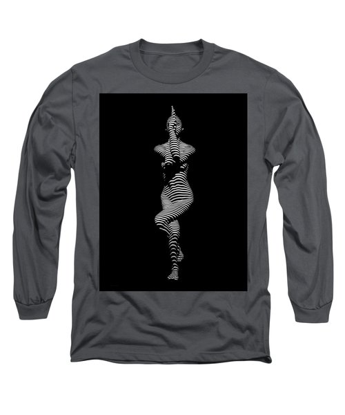 9486-dja Yoga Woman Illuminated In Stripes Zebra Black White Absraction Photograph By Chris Maher Long Sleeve T-Shirt by Chris Maher