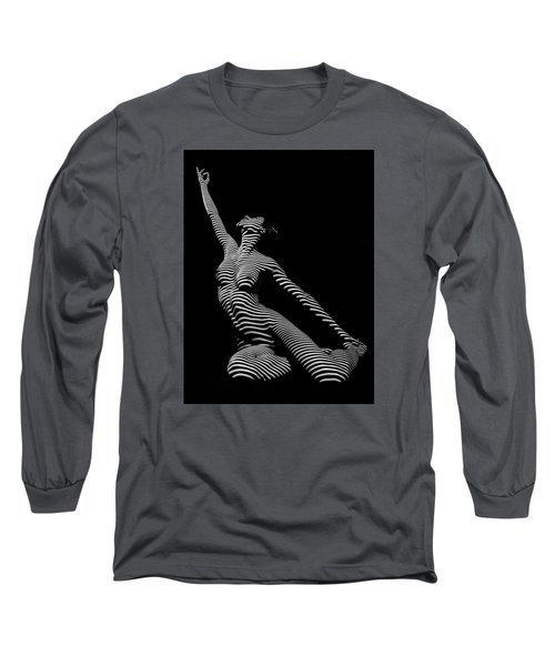 9970-dja Zebra Striped Yoga Reaching Sensual Lines Black White Photograph Abstract By Chris Mahert Long Sleeve T-Shirt