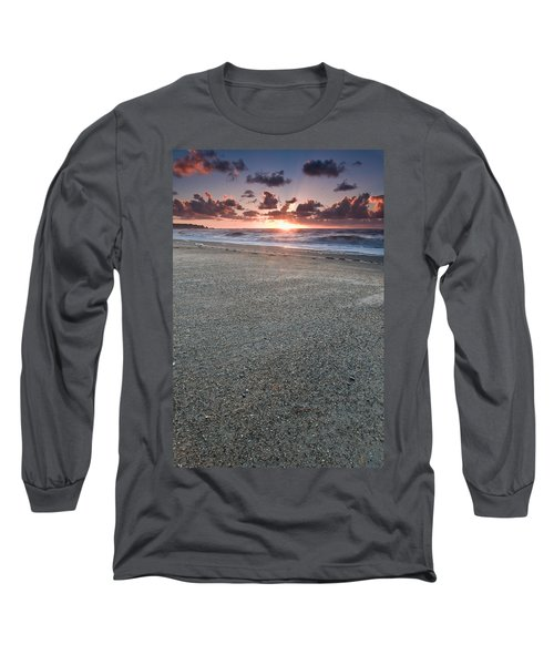A Beach During Sunset With Glowing Sky Long Sleeve T-Shirt
