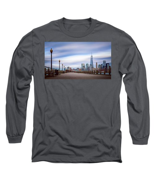 A Boardwalk In The City Long Sleeve T-Shirt by Eduard Moldoveanu