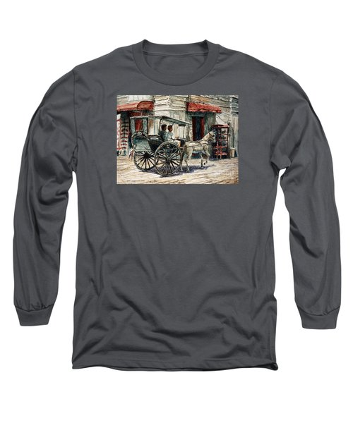 A Carriage On Crisologo Street Long Sleeve T-Shirt by Joey Agbayani