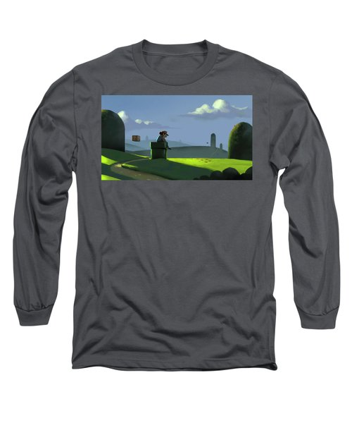 Long Sleeve T-Shirt featuring the painting A Contemplative Plumber by Michael Myers
